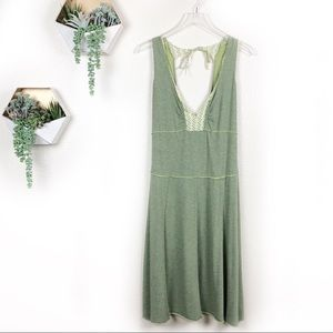 Free people boho green v neck dress